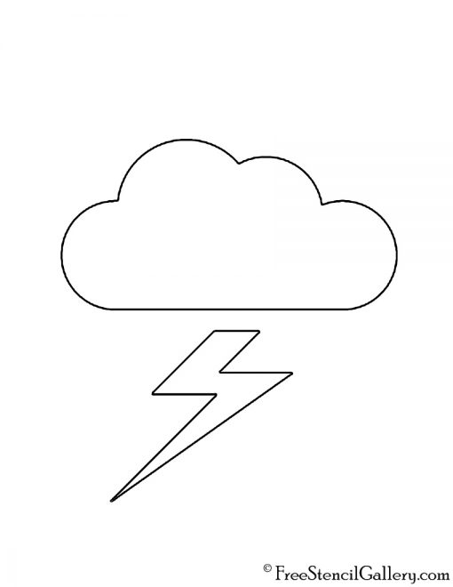 Weather Icon -Thundercloud 02 Stencil