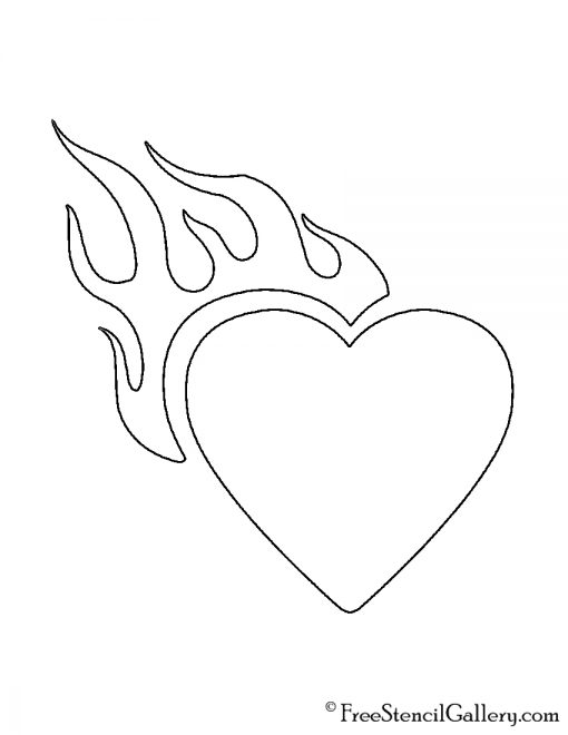 Heart with Flames Stencil